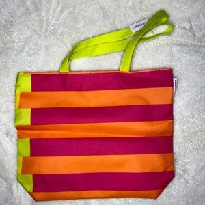 CLINIQU X DONALD SPRING 2020 ORANGE STRIPED TOTE